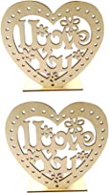 Uonlytech 2PCS LED Tealight Candle I Love You Candle Holder Wooden Heart Night Light Lamp Desktop Ornament Centerpiece for...
