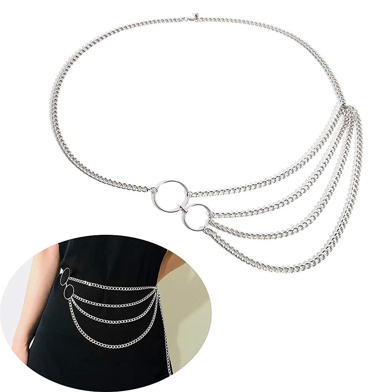 Jurxy Multilayer Alloy Waist Chain Body Chain for Women Waist Belt Pendant Belly Chain Adjustable Body Harness for Jeans Dresses – Silver Style 6