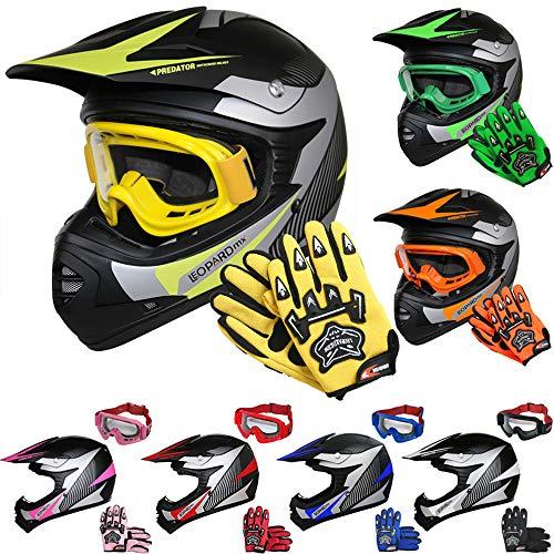 Leopard LEO-X19 Casco de Motocross para Niños Amarillo S (49-50cm) y Guantes S(5cm) y Gafas ECE Homologado