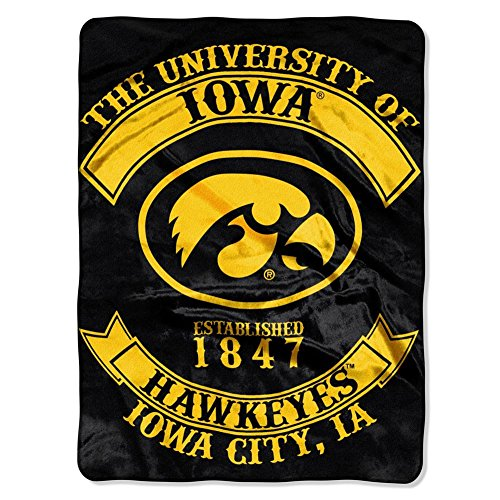 The Northwest Company Officially Licensed NCAA Iowa Hawkeyes Rebel Royal Plush Raschel Throw Blanket, 60' x 80', Multi Color