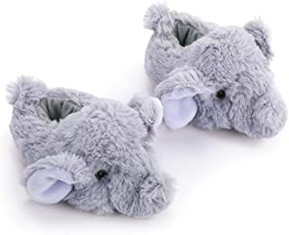 Elephant Animal Fluffy Grey 6-12 months Polyester Fabric Infant Sock Booties