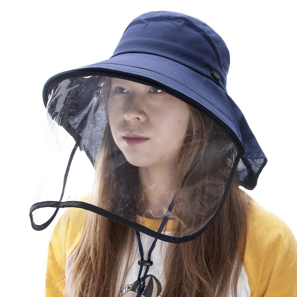 Cotton Sun Hat with Neck Cover Cord for Women Siggi Summer Bill Flap Cap UPF 50