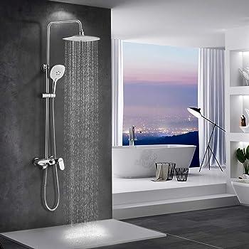 WOOHSE Conjunto de ducha y bañera Sistema de ducha con alcachofa cuadrada y 3 modos ducha de mano y flexo metálico de 1,5 m de longitud y soporte, altura regulable: 81-114,5cm, cromo: