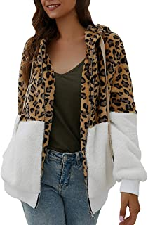 Wadonerful Women Plush Jacket Hooded Neck Long Sleeve Leopard Print Patchwork Outwear Fleece Cardigan Zipper Warm Coat
