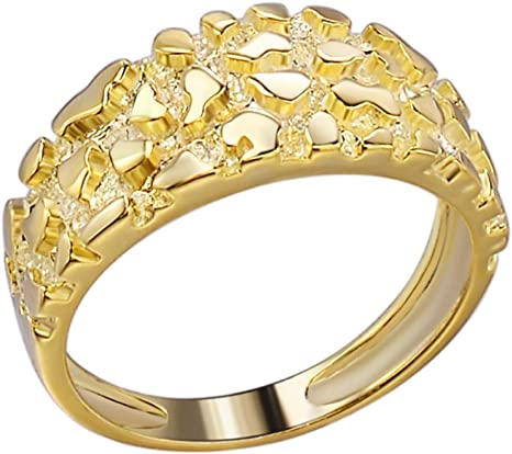 Men's Nugget Ring - Plain Solid 925 Sterling Silver Ring - 14k Yellow Gold Finish - Sizes 6-13