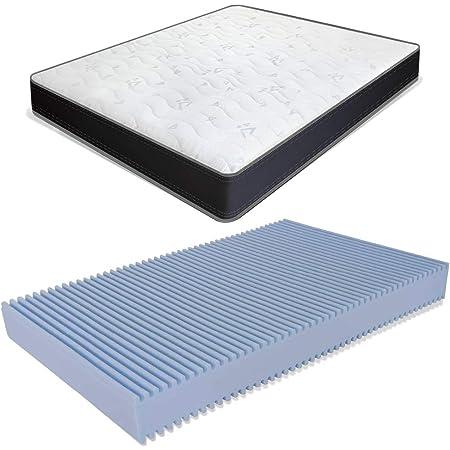 Miasuite Matelas à la française, pour lit double, 140 x 200 cm, hauteur 13 cm, en mousse waterfoam, pliable et orthopédique, modèle Summit