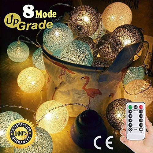 Guirlande Lumineuse Boules Coton, Morbuy Décoration Piles Cosy LED Améliorer 8 Modes Télécommande Lumière Pour La Saint Valentin Noël Fêtes Mariage d'autres Fêtes Ou Occasions Etc (Ciel bleu gris)