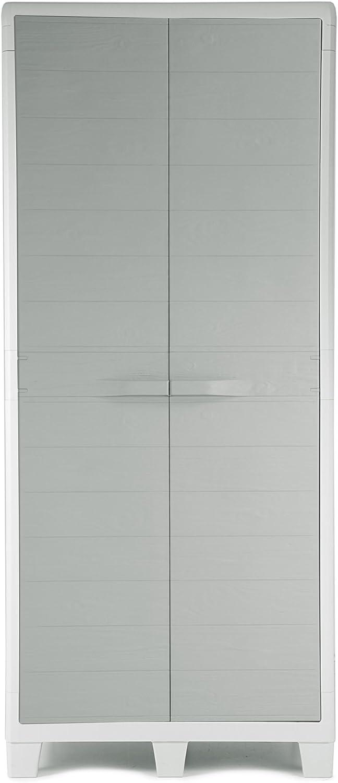Ondis24 Kunststoffschrank XL Madera mit 3 Bden und Besenfach Grau in Holz Optik Spind Aufbewahrungsschrank abschliebar