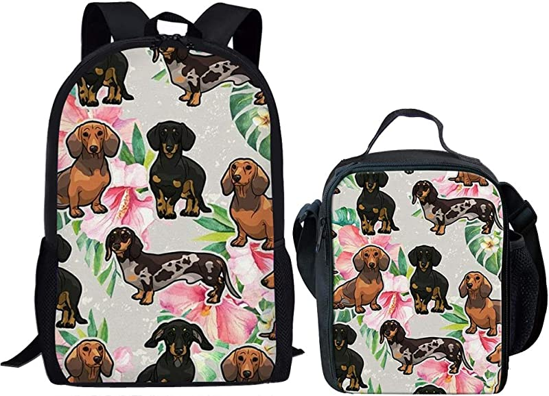 GePrint Dachshund Backpack For Girls Children Schoolbag Elementary Book Bag With Lunch Bag