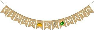 Pudodo Cinco De Mayo Burlap Banner Mexican Taco Cactus Party Fiesta Decoration