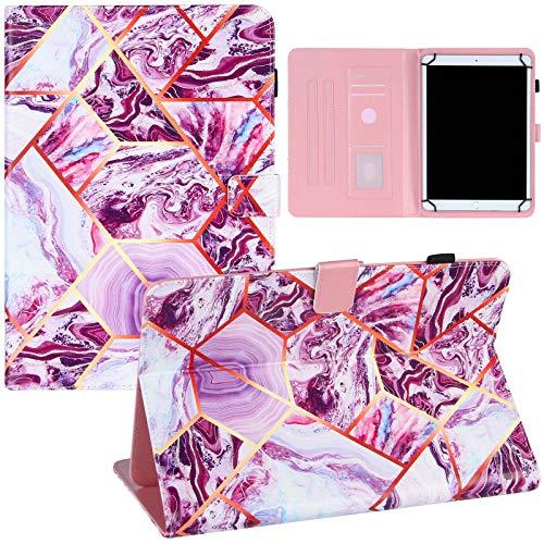 ZOOMALL Funda tipo libro para tablet de 9 a 10 pulgadas, universal, soporte de piel vegana, con soporte para lápices delgado, para tablet universal de 7,5 a 8,5 pulgadas, color morado