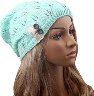 Voberry Women Trendy Stretch Knit Leaves Hollow Out Slouchy Beanie Skully Hat