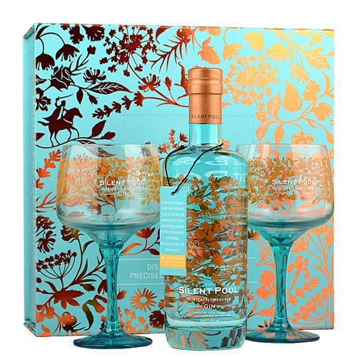 Silent Pool Distillers Surrey Hills 43% Gin Giftbox and 2 Copa Glasses, 70cl