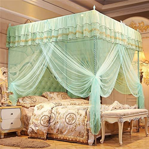 NZKW Palast Moskitonetz, 4 Spalte Bett Vorhang DREI Offene Türen Verschlüsselung Überdachung Quadrat Spitze Mückennetz, Für Zuhause Single Bett Doppelt Bett,Grün,1.2 * 2m