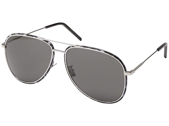 Saint Laurent SL 294/F (Shiny Silver/Black/White/Grey Solid) Fashion Sunglasses