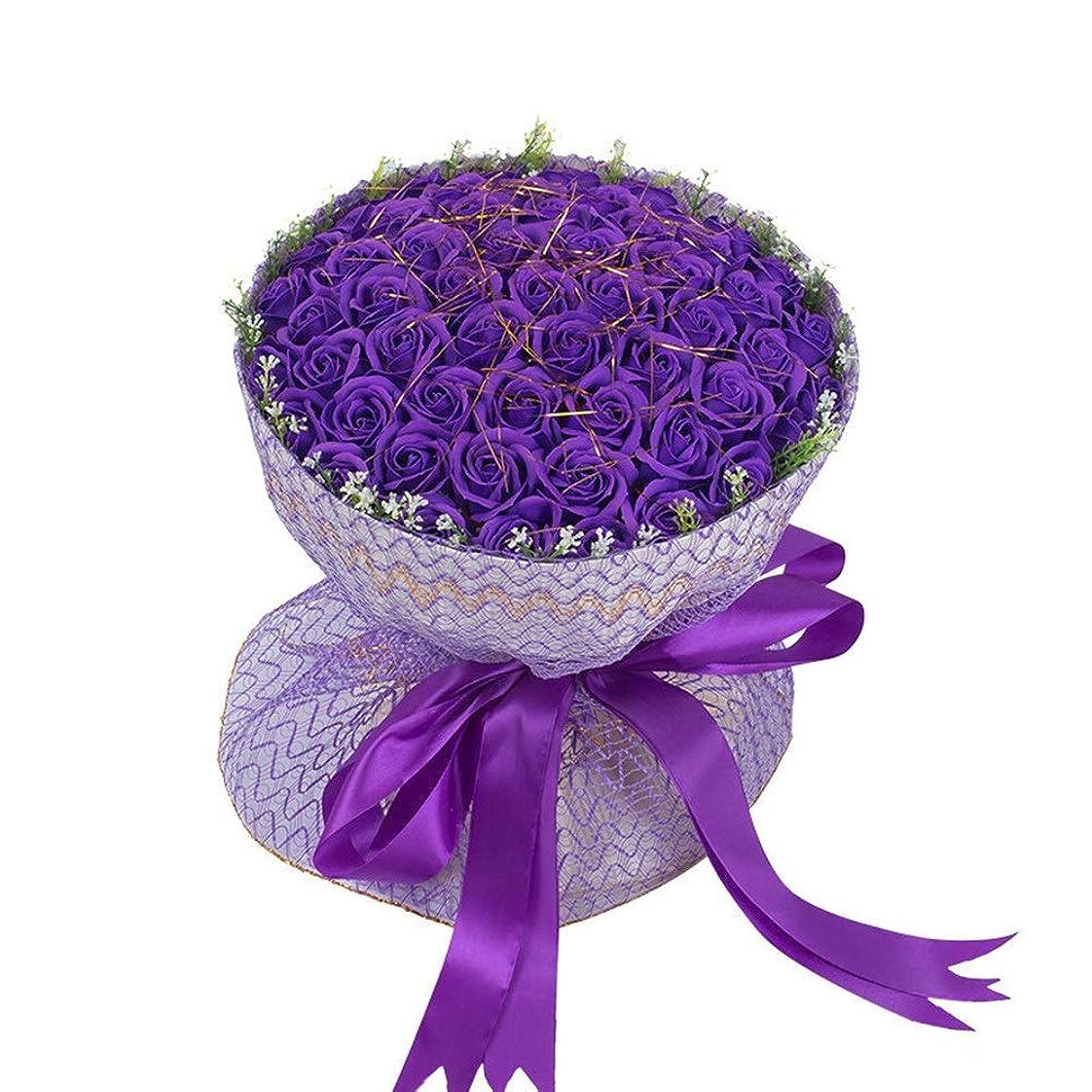 ウォーターフロント正午大造花 人工バラの花ブーケフェイクフラワー付き花瓶フェイクブライダルウェディングブーケのホームガーデンパーティーの花の装飾99pcs (色 : 紫の, サイズ : 45CM)