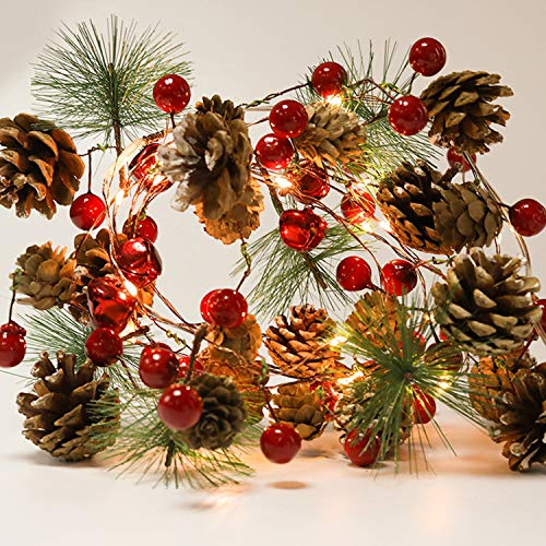 Christmas Garland LightsRed Berry with Pine Cone Garland LightsFall Decor Garland3AA Battery Operated Garlands for Indoor Outdoor Wedding Xmas New Year Party Decorations656FT 20 LEDs