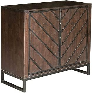 Pulaski Modern Wood and Metal Chevron Chest Birch Brown, 36.02