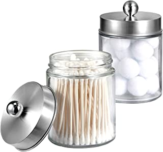 Apothecary Jars Bathroom Vanity Organizer -Countertop Canister Jar with Storage Lid - Qtip Dispenser Holder Glass for Qtips,Cotton Swabs,Makeup Sponges,Hair Band - Brushed Nickel (2 Pack)