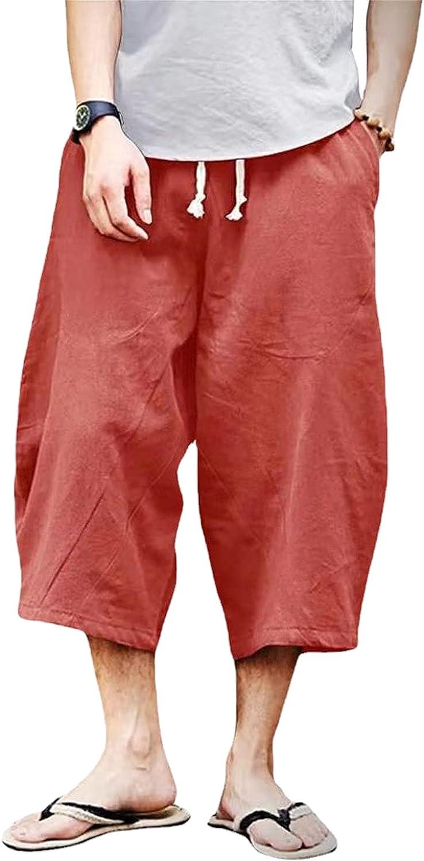 Mens Casual Plus Size Drawstring Long Shorts Hip Hop Cropped Skateboard Short Below Knee Loose Cotton Linen Short-pant