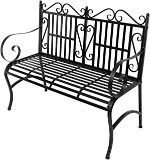 Little-Tomato Folding Portable Patio Park Garden Bench Porch Path Chair Seat Outdoor Deck Steel Frame 2-Person Seating Black