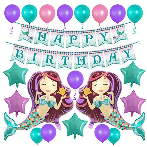 Mermaid Balloons 38 Glitter Happy Birthday Banner Party Decorations Star Foil Helium Latex Balloon Pack