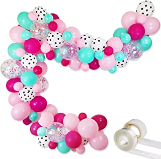"""Surprise Party Decorations Balloons Garland Kit- 88 Pack 12"""" 5"""" Rose Red Pink Sea Foam Blue White Polka Dots Latex Balloon..."""