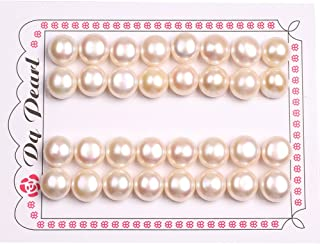 GEM-inside 11mm 16 Pairs White Half Drilled Freshwater Pearls Loose Beads Handmade Beads for Jewelry Making Jewelry Beading Supplies for Women