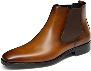 GIFENNSE Men's Chelsea Boots,Brown Boots for Men,Leather Boots,Dress Boots,Black Boots