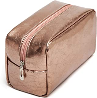 Travel Makeup Bag, Packism Waterproof PU Leather Travel Cosmetic Bag for Women Girls, Multifunction Makeup Pouch Toiletry Bag Organizer Champagne