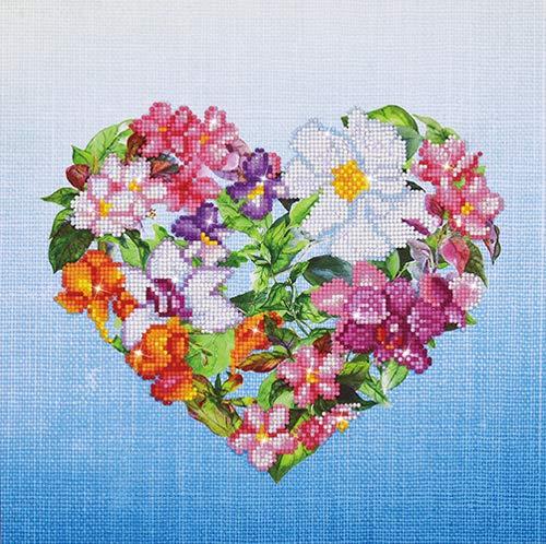 Needleart World Flower Heart Kit creativo Resina, Multicolore, 37 x 37 cm