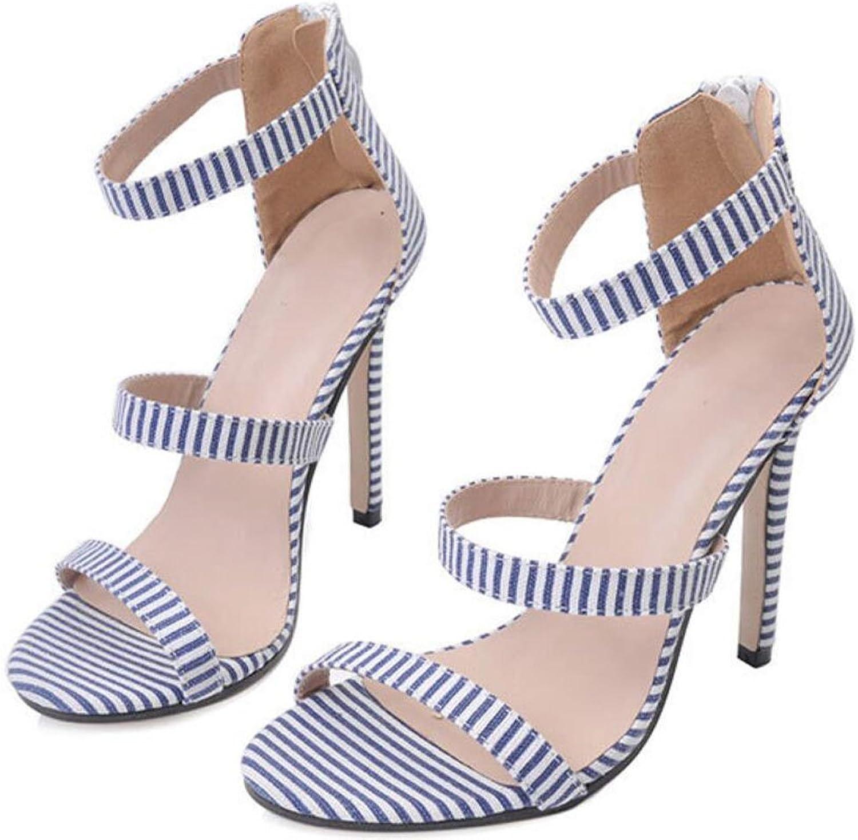 LZWSMGS Women's shoes Summer Heeled shoes Striped bluee Sandals 35-40cm Ladies Sandals (color   bluee, Size   6 US)