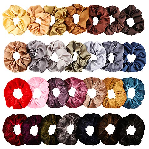 BeYumi 28 Stück Bunte Seide Satin Haargummis für Frauen, Starkes elastisches Haar pudert für Pferdeschwanz-Halter, Bunte Haarschmuck Seile Scrunchie, einfarbig Traceless Haargummis
