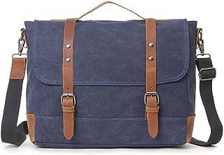 Men's Accessories Office Vintage Style 9.7 Inch Laptop Handbag Casual Business Briefcase Shoulder Messenger Satchel Bag,Khaki,Green/Blue/Gray Outdoor Recreation (Color : Blue)