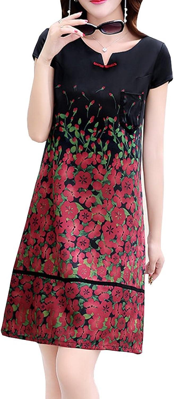 Dissa S961 Women Vintage Sleeveless Midi Cocktail Plus Size Silk Summer Dress