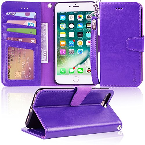 Arae Case for iPhone 7 Plus/iPhone 8 Plus, Premium PU Leather Wallet Case with Kickstand and Flip Cover for iPhone 7 Plus (2016) / iPhone 8 Plus (2017) 5.5 inch - Purple