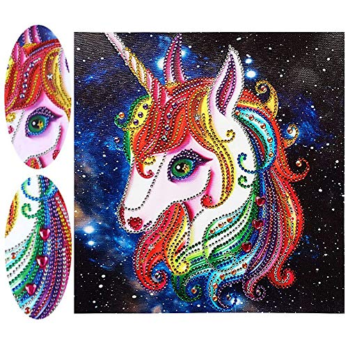 O&BTRC01 Diamond Painting Set Einhorn 5D Diamant Painting Set Einhörner Malen Nach Zahlen Diamant Unicorn für Kinder 20x20cm