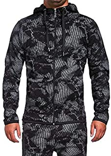 2019 Winter Men Hoodies Sweatshirts Fashion Camo Print Big and Tall Jacket Top Slim Casual Long Sleeve Coat Outwear 3XL