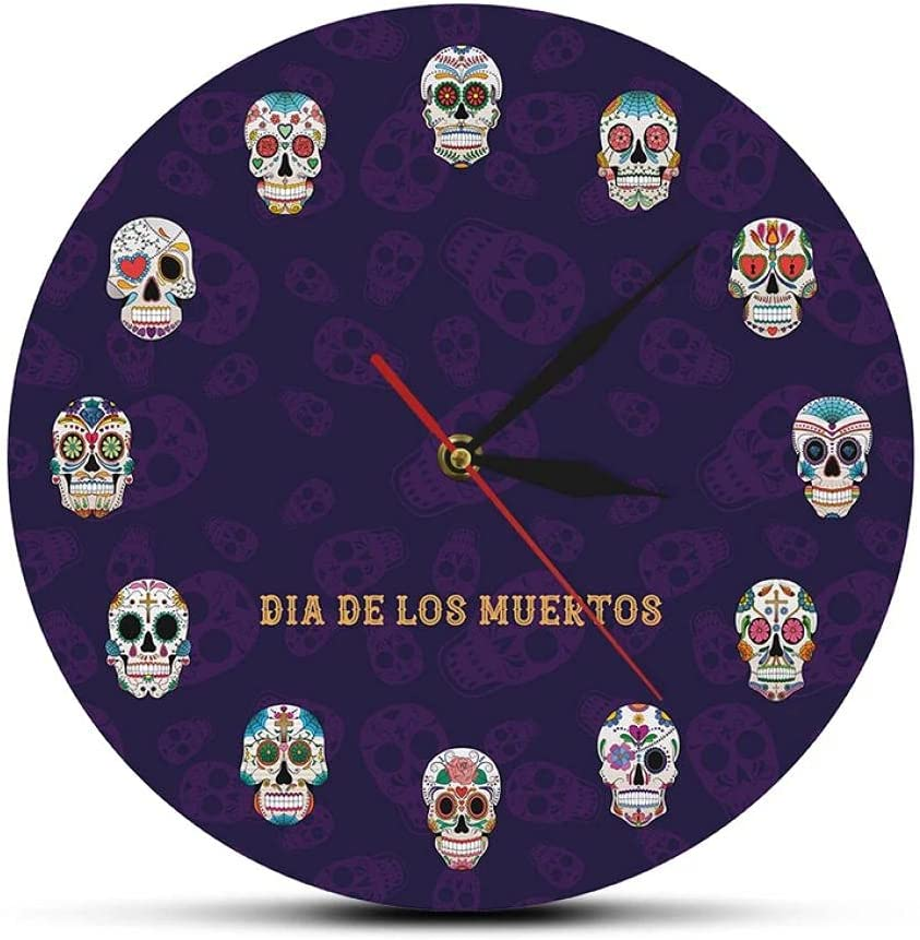 Mexico Day of The Dead Printed Deluxe OFFer Flowered Wall Clock Mandala Skull
