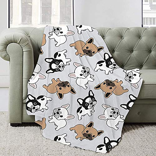 Astede Cute French Bulldog Blanket for Bed Couch Sofa Super Soft Lightweight Travelling Camping Throw All Season 60'X50' for Teens