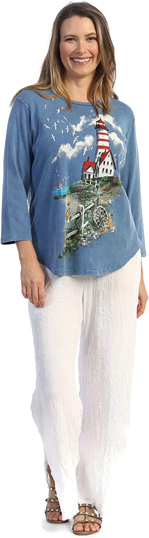 Jess & Jane Women's Lighthouse Mineral Washed Cotton Babyrib Tunic Top