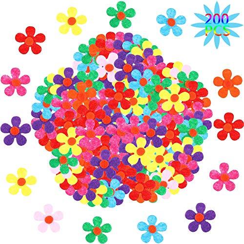 BESTZY Blumen Filz deko 200pcs Stoff Blumen Filz Blumen Selbstklebende Filz-Blumen zum Basteln für Kinder ideal Für DIY Kunsthandwerk
