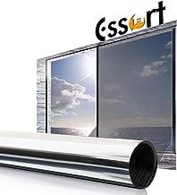 ESSORT Window Privacy Film, One Way Mirror Window Film, Anti UV Window Sunscreen Film, Self-Adhesive Heat Control Window Film for Office Home Daytime Privacy(35.4 Inch x 13.1 Feet Silver-Static Cling)