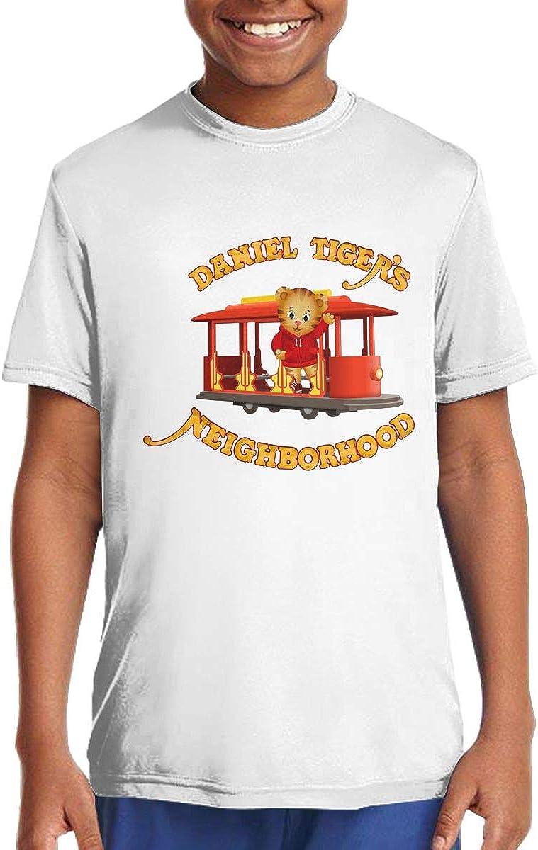 DAVIDLLOYD Daniel Tiger's Neighborhood Funny Youth Short Sleeve Tee Shirt for Teenager Boys Girls White