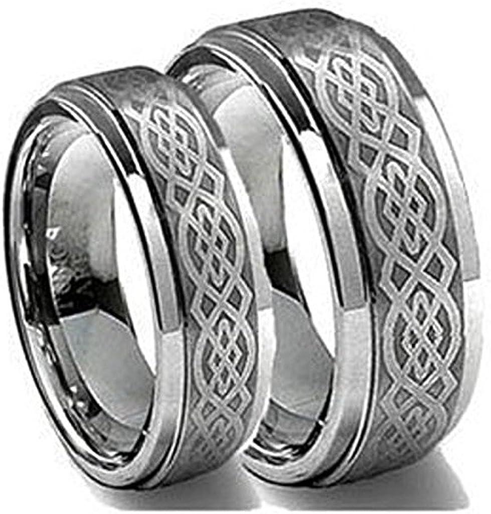 His & Her's 8MM/6MM Tungsten Carbide Wedding Band Ring Set Laser Etched Celtic Design