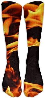 Medias divertidas personalizadas visten una llama de fuego sobre la pantorrilla Tubo Muchachos hasta la rodilla Calcetines largos Viajes Transpirables