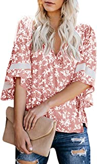Dellytop Womens V Neck Wrap Tops Short Sleeve Floral Print Loose Fitting Blouses Shirts