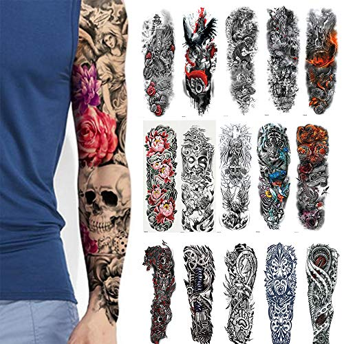 L-Tornado Temporary Tattoos 10 Sheets- Full Arm and Half Arm Temporary Tattoos for Men or Women Arm Leg Shoulder Chest Body Art Tattoos