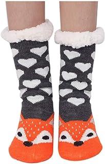 Amkun, Calcetines de invierno antideslizantes para mujer súper suaves y lindos con dibujos animados