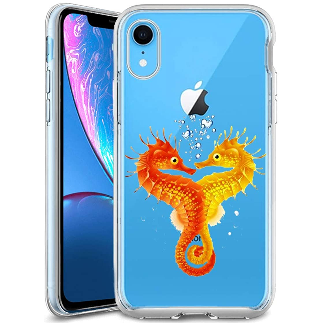 Customized Protective Cover with Slim Soft Durable TPU Ultra-Clear Silicone UV Printing Seahorse Lover Phone Case for iPhone Xr